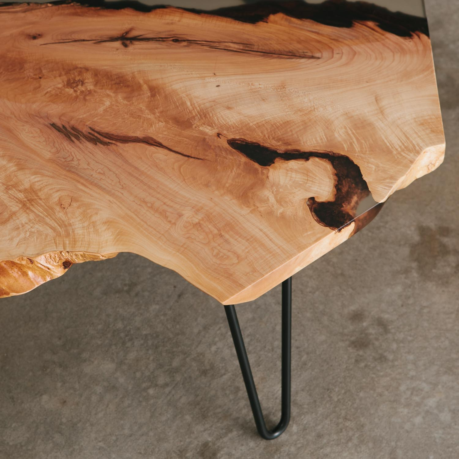 Maple side table with clear resin