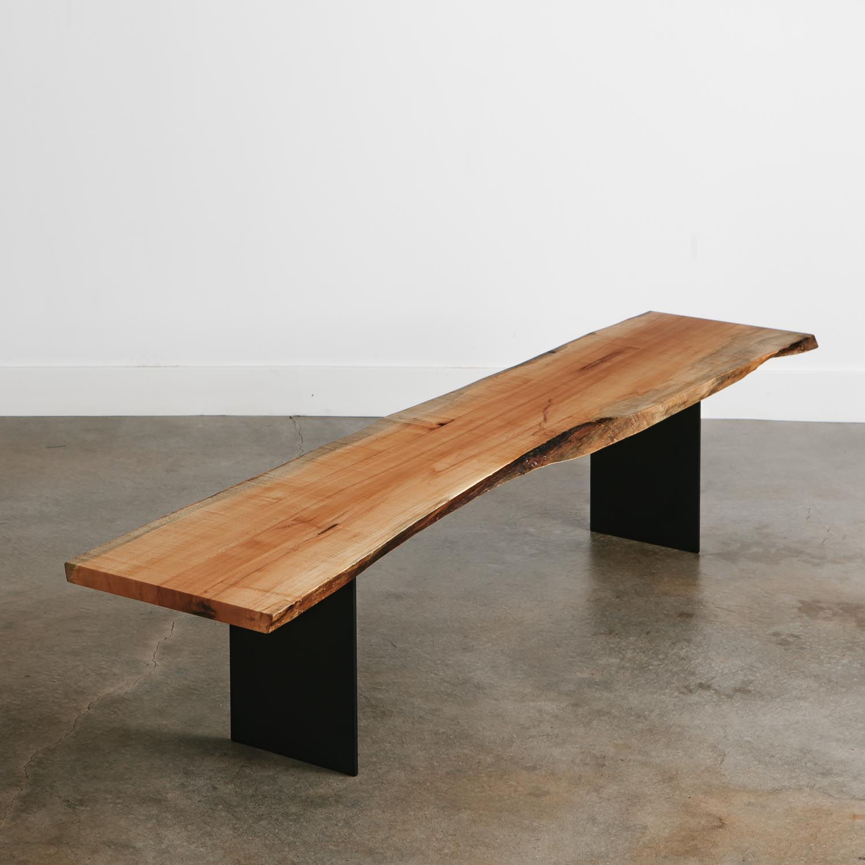 Reclaimed Live Edge Maple Coffee Table Bench Industrial: Maple Bench - Elko Hardwoods