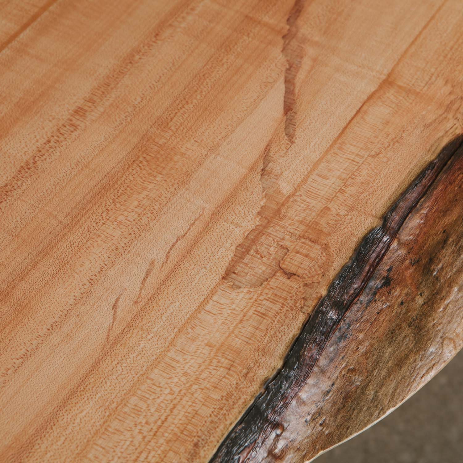 Live edge maple wood detail