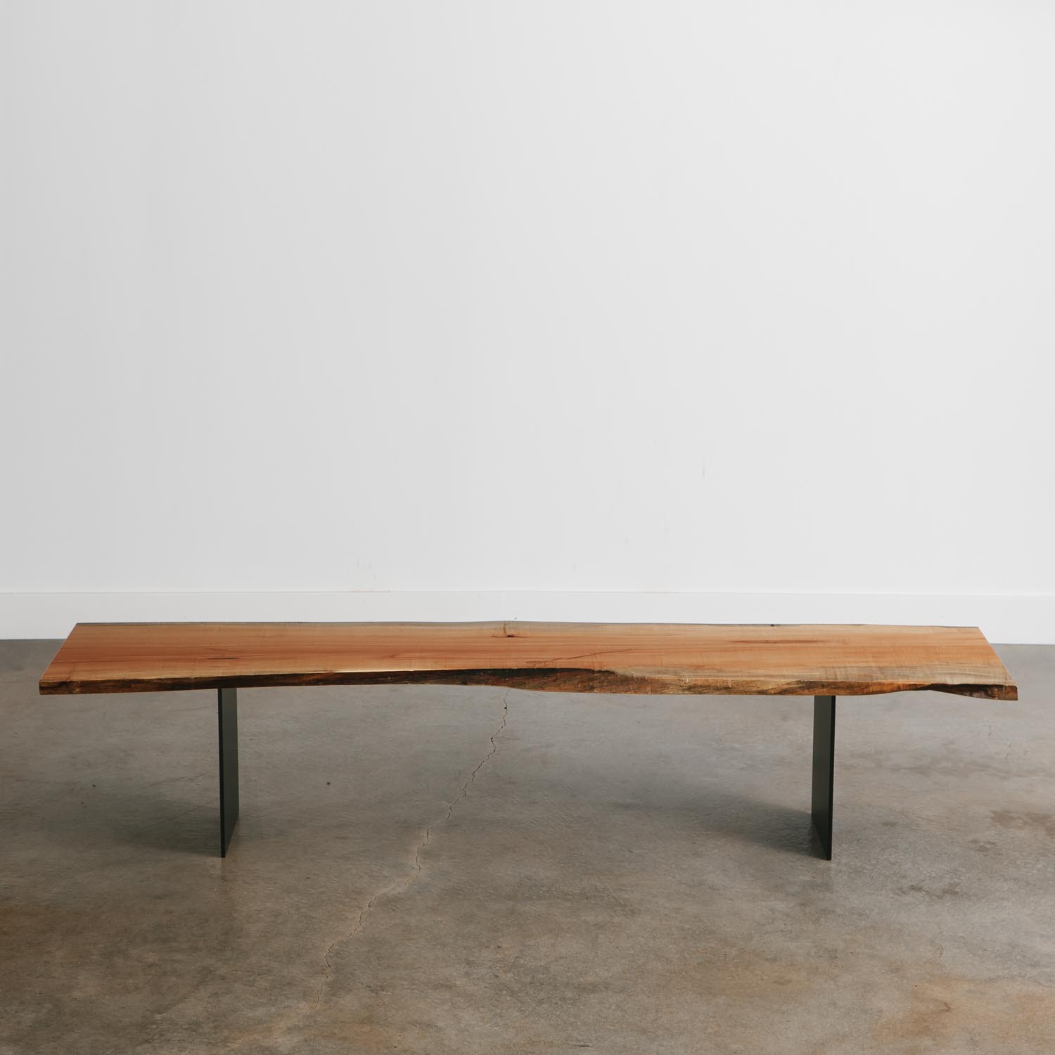 Modern maple bench for long table
