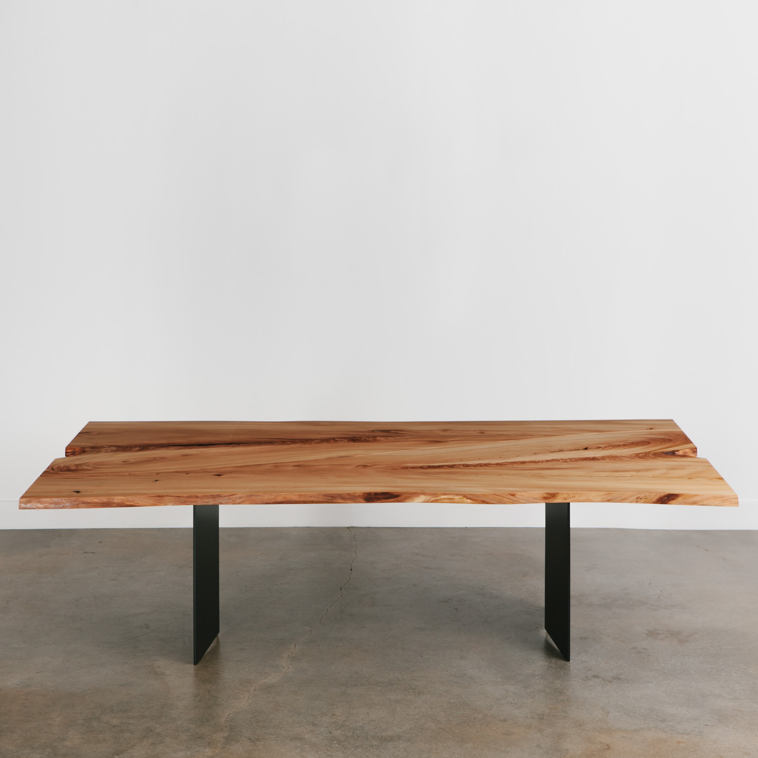 Modern elm wood steel dining table
