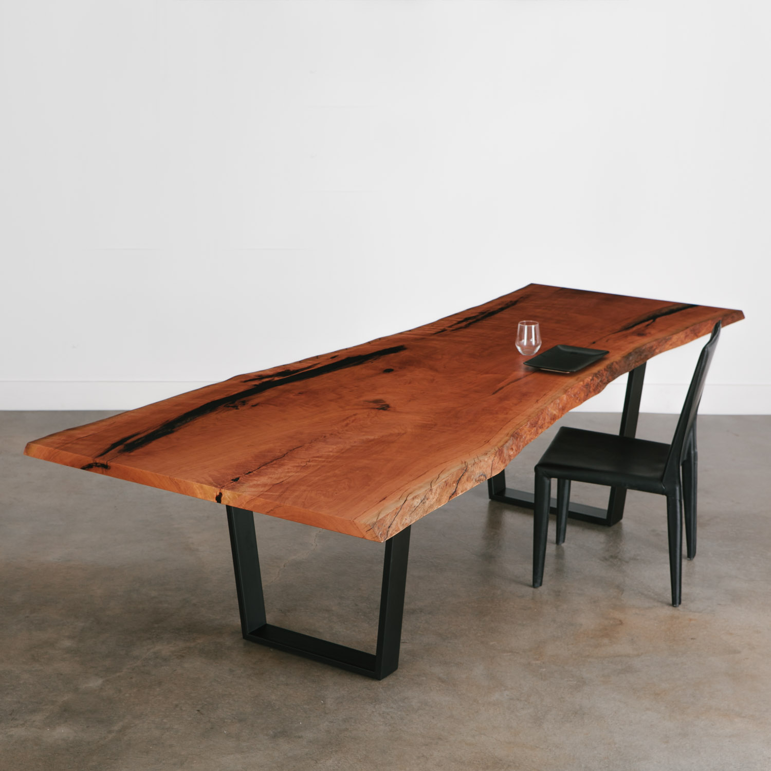 Trendy cherry slab live edge table