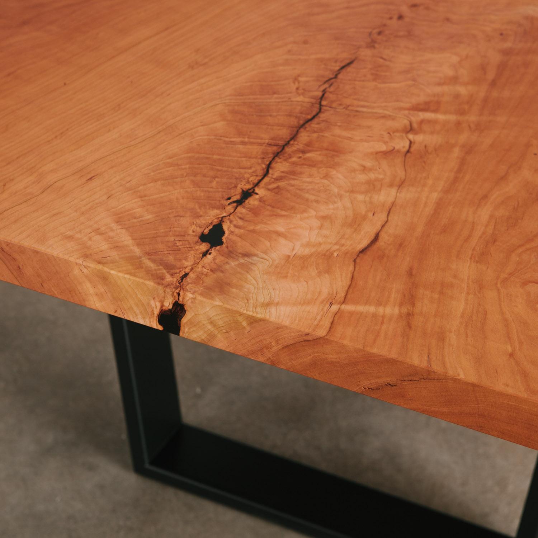 Figured cherry slab table
