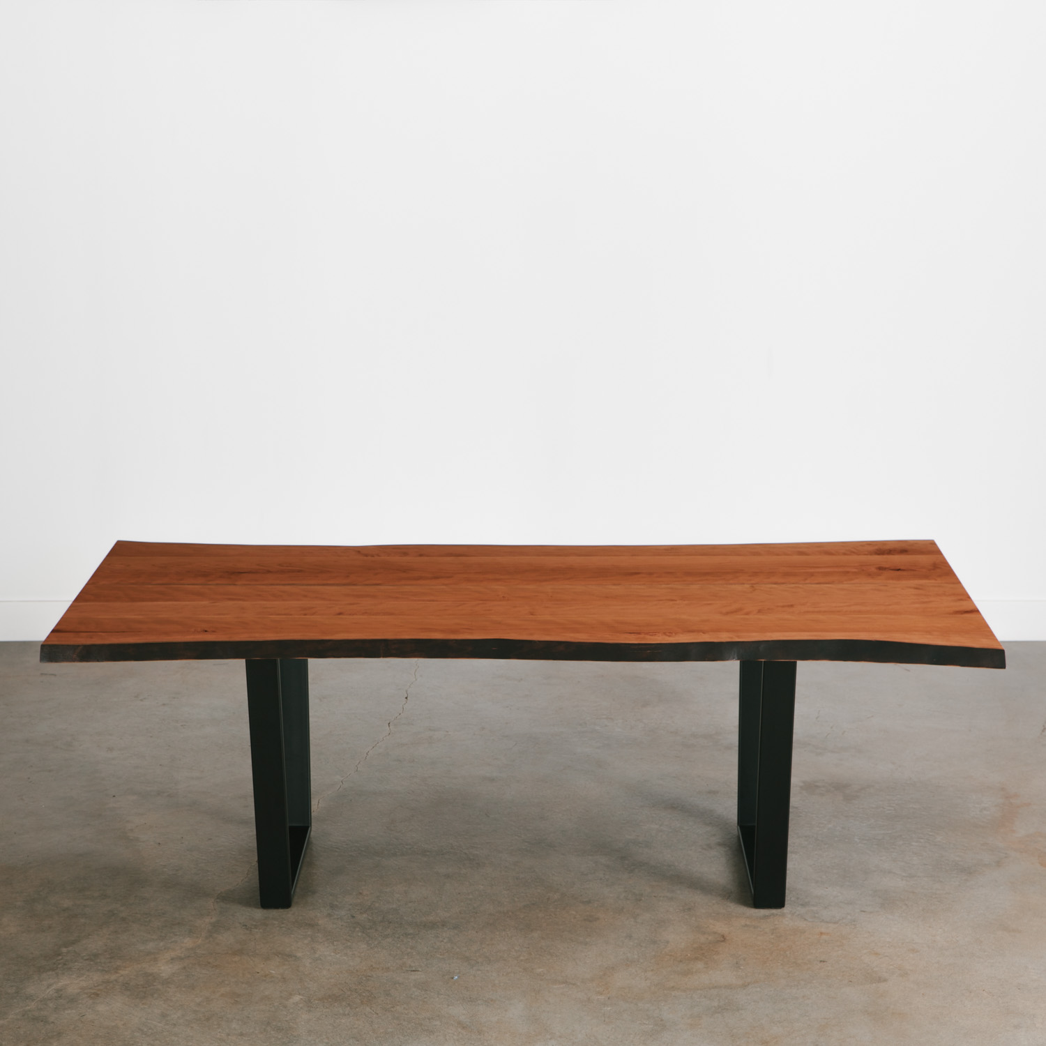 Cherry slab table with steel legs