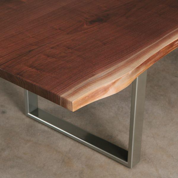 Live edge walnut table with chrome base