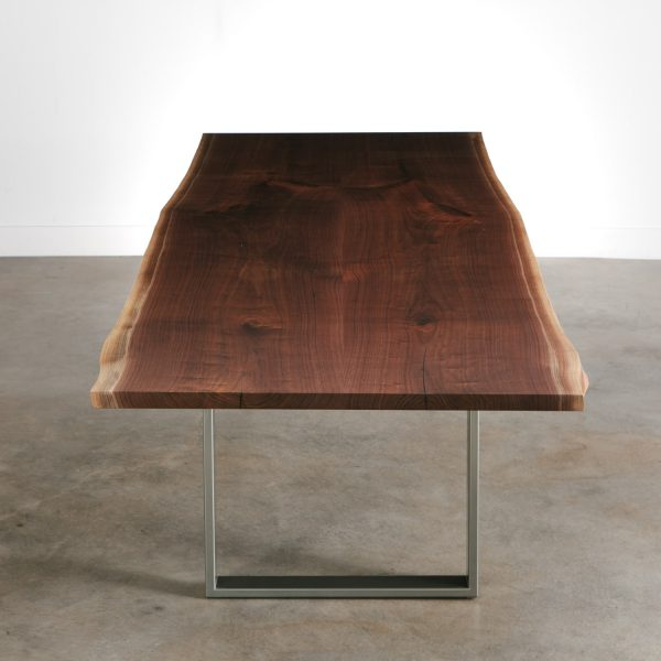 Modern walnut slab dining table