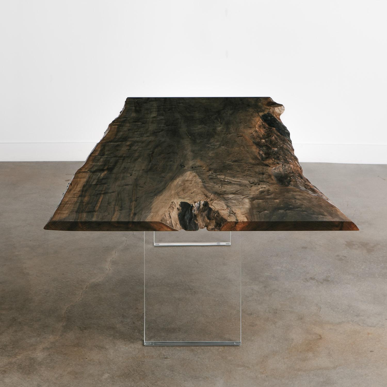 Trendy ebonized live edge dining table lucite