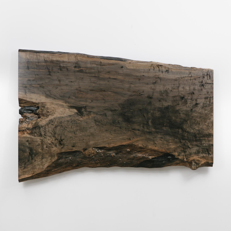 Ebonized live edge slab from natural tree