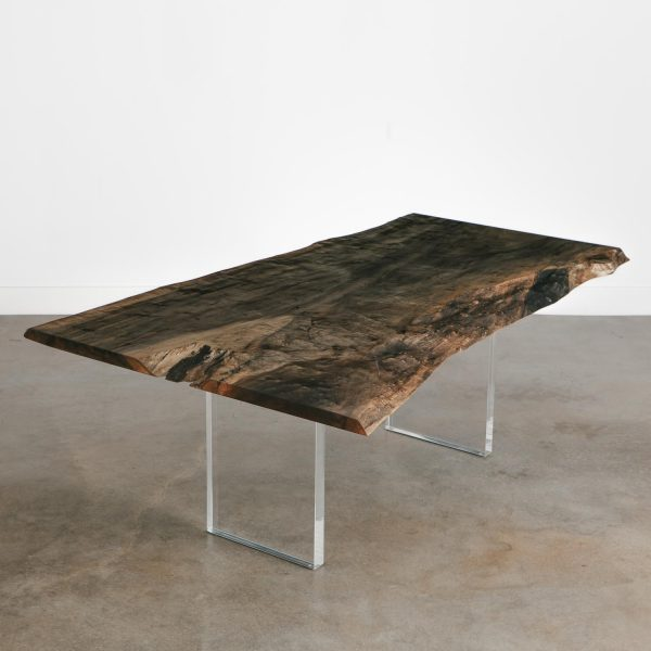 Unique live edge table with clear acrylic base