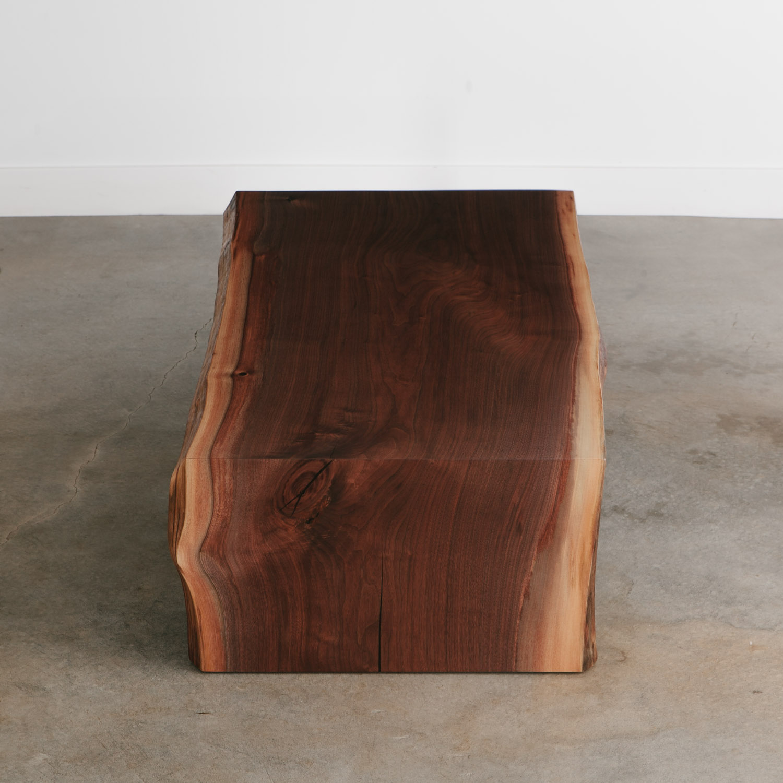Single slab luxury waterfall walnut coffee table