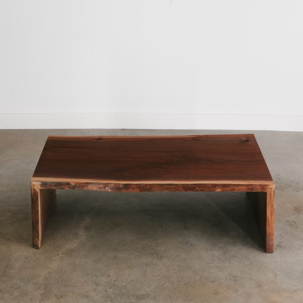 Walnut live edge waterfall coffee table for cabin
