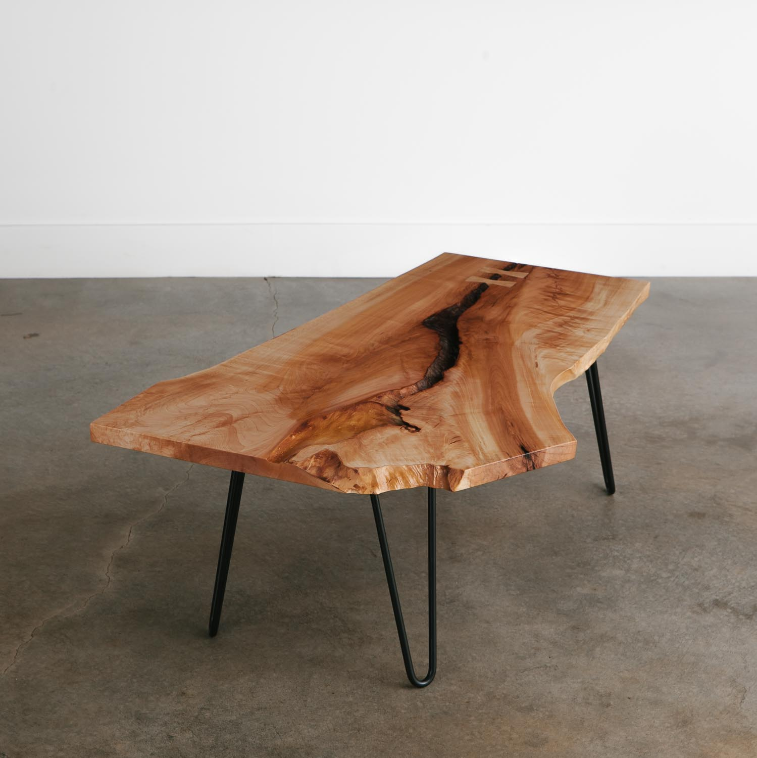 Live edge mid century modern coffee table for apartment