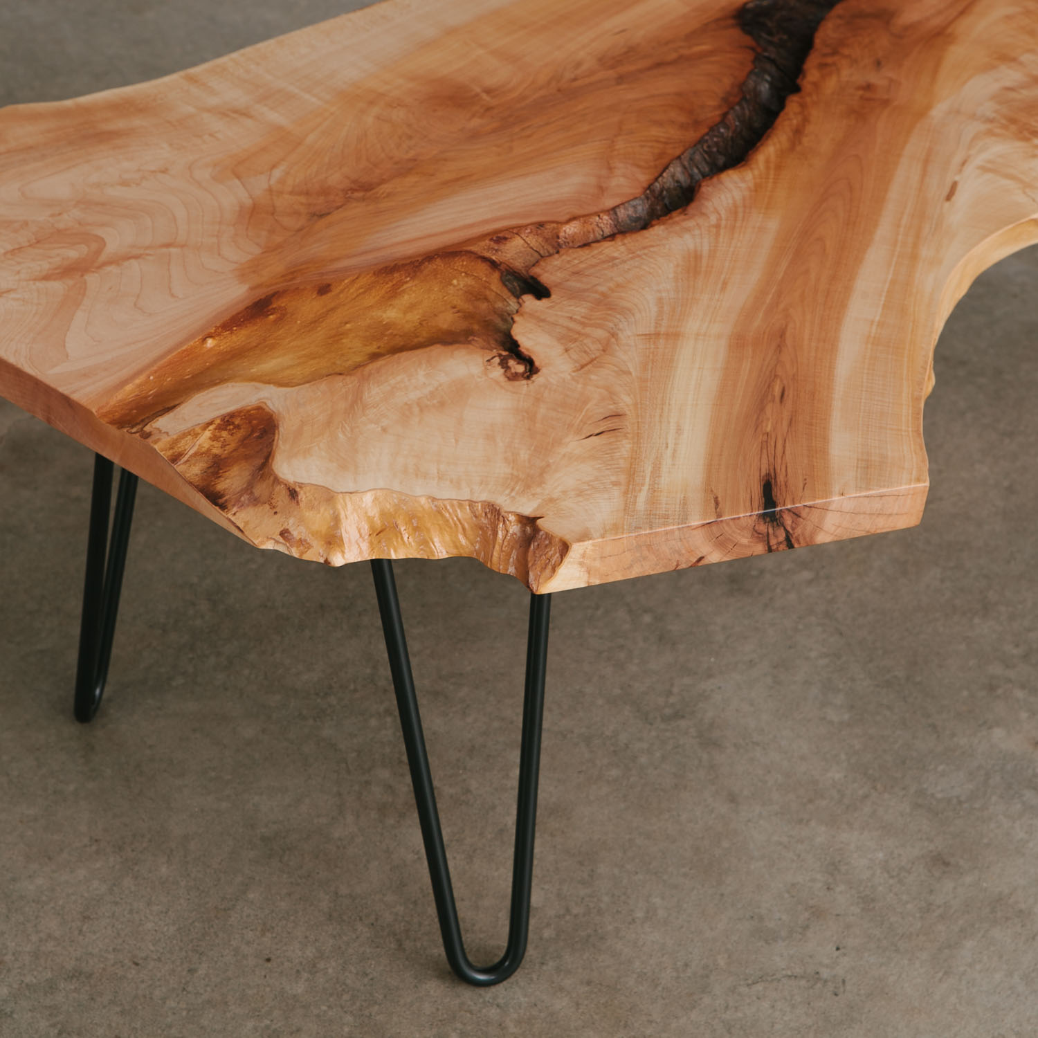Hipster live edge coffee table hairpin legs