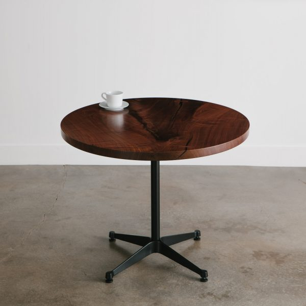 Live edge round walnut table pedestal base for office