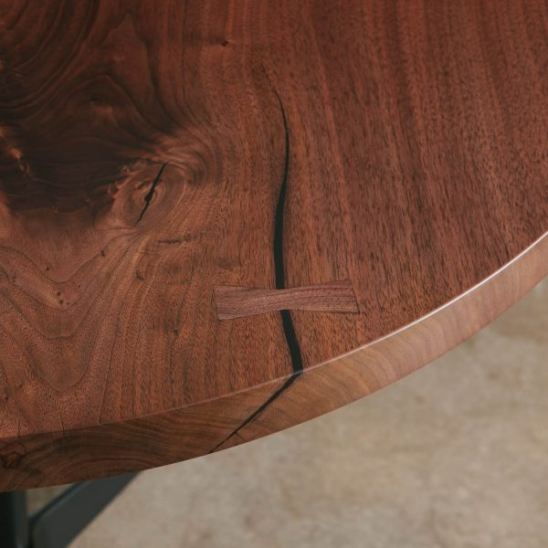 Walnut round slab table butterfly joint