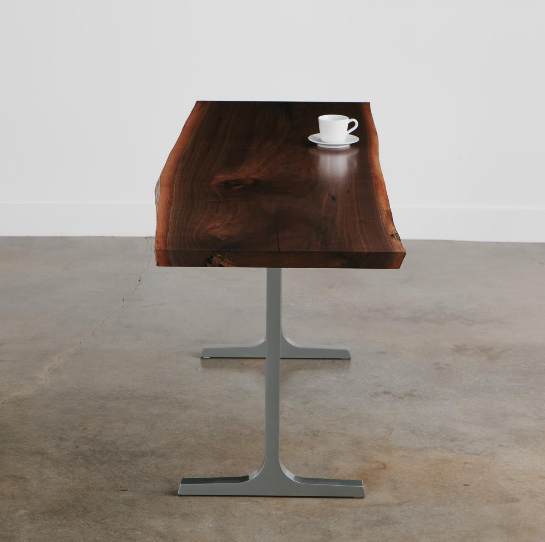 Modern live edge walnut slab desk cafe lunch table