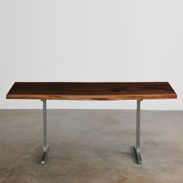 Modern walnut slab commercial desk