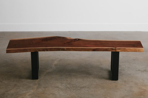 Custom walnut live edge bench from salvaged tree chicago