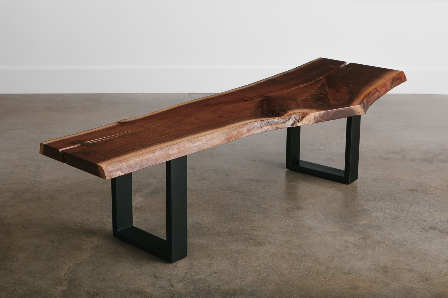 Live edge walnut bench for commercial office conference table