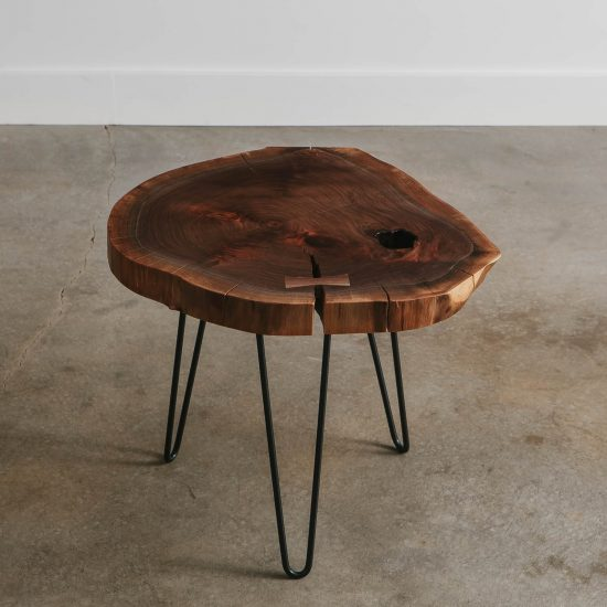Luxury walnut live edge side table with hairpin legs