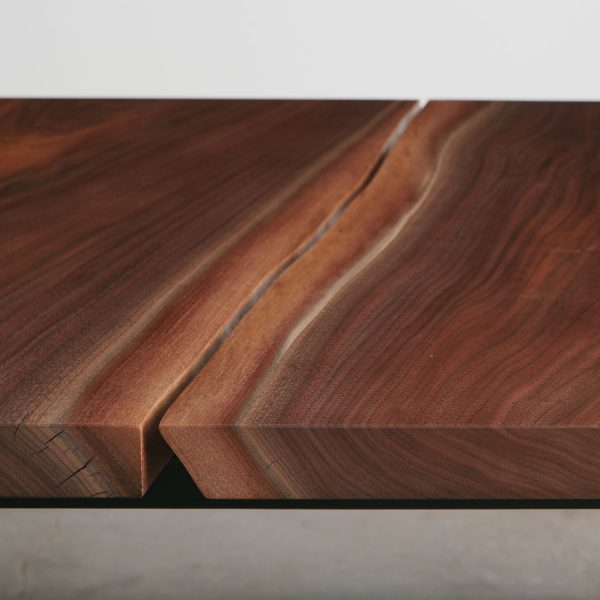 Modern bookmatch walnut slabs with live tree edge