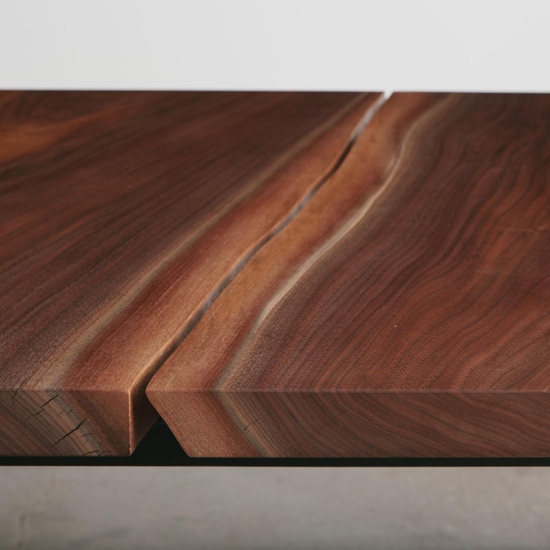 Modern bookmatch walnut slabs with live tree edge