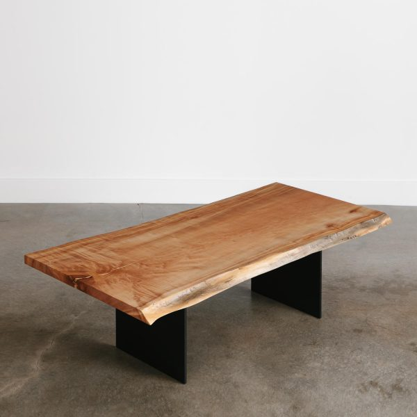 Modern live edge maple coffee table for city apartments