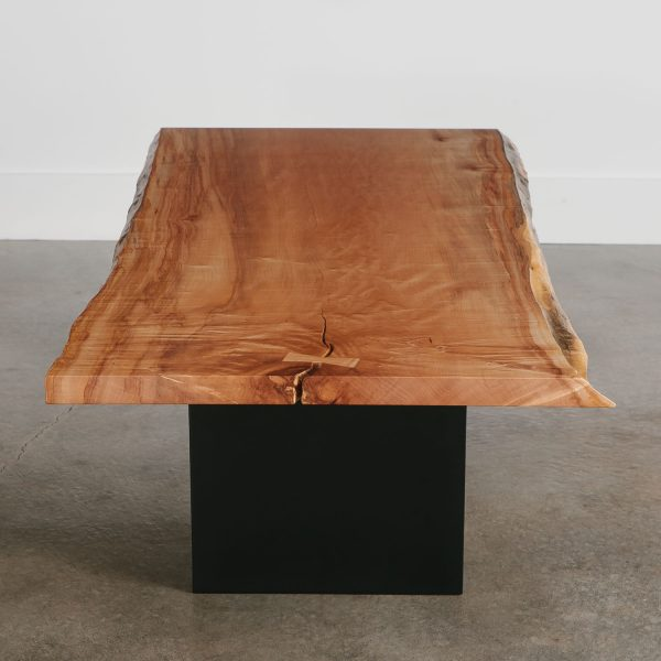 Luxury live edge maple coffee table with steel legs
