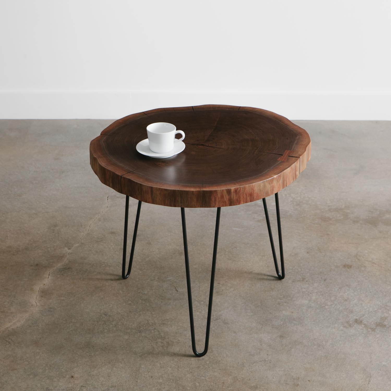 Mid century modern walnut live edge side table