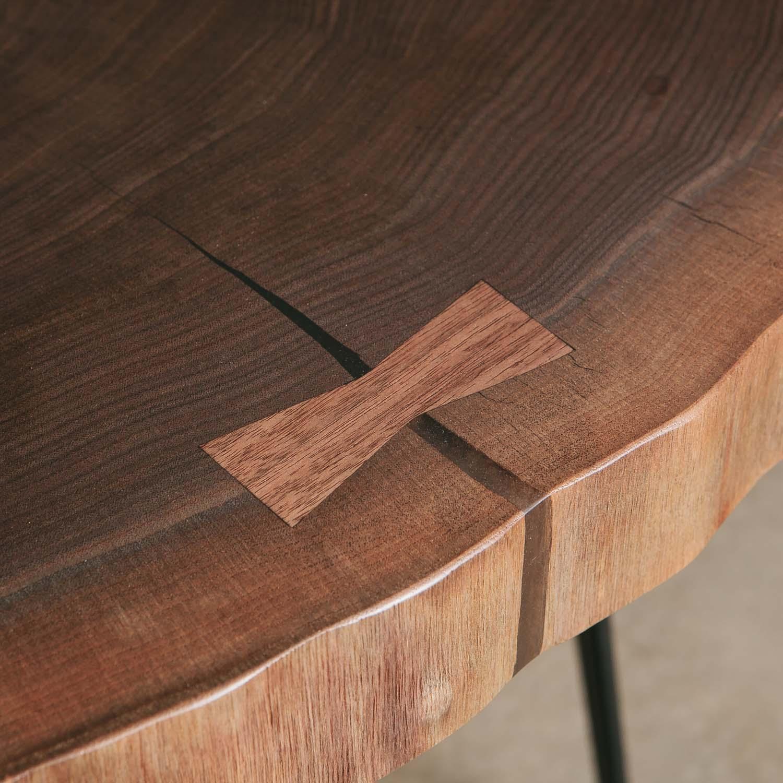 Luxury walnut live edge slab detail