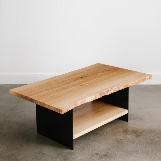 Luxury live edge coffee table with bottom shelf