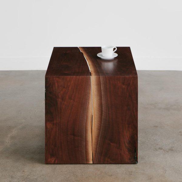 Waterfall walnut wood side table