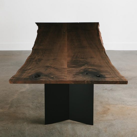 Modern neutral dining room table made from tree