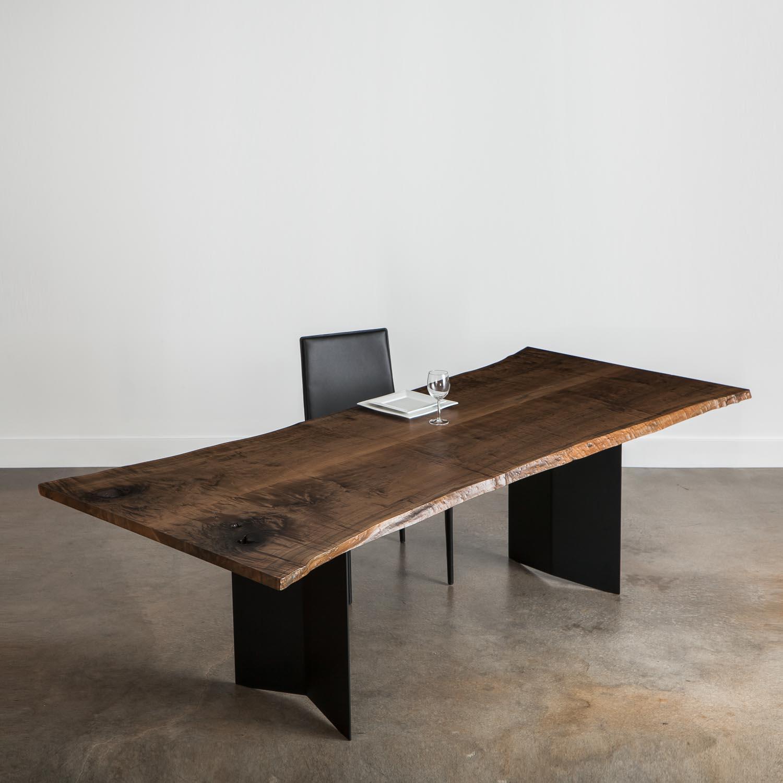 Large live edge ebonized luxury table