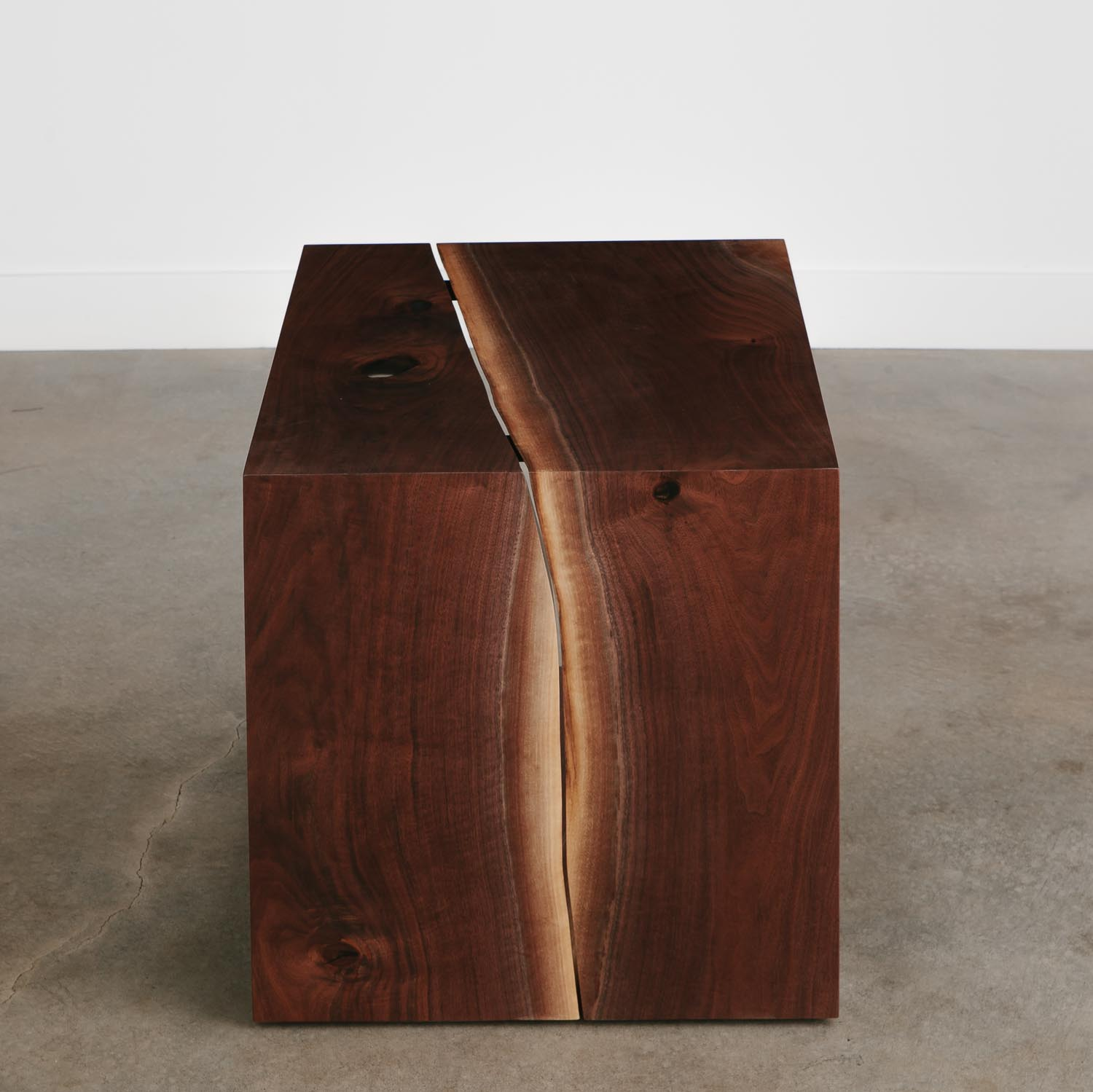 Modern live edge waterfall side table