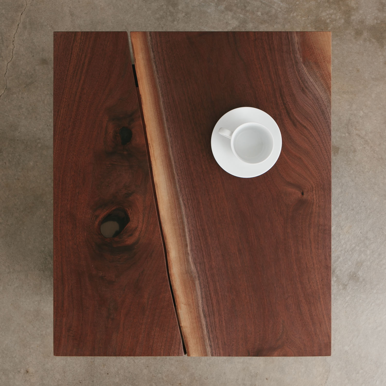 Walnut wood side table slab