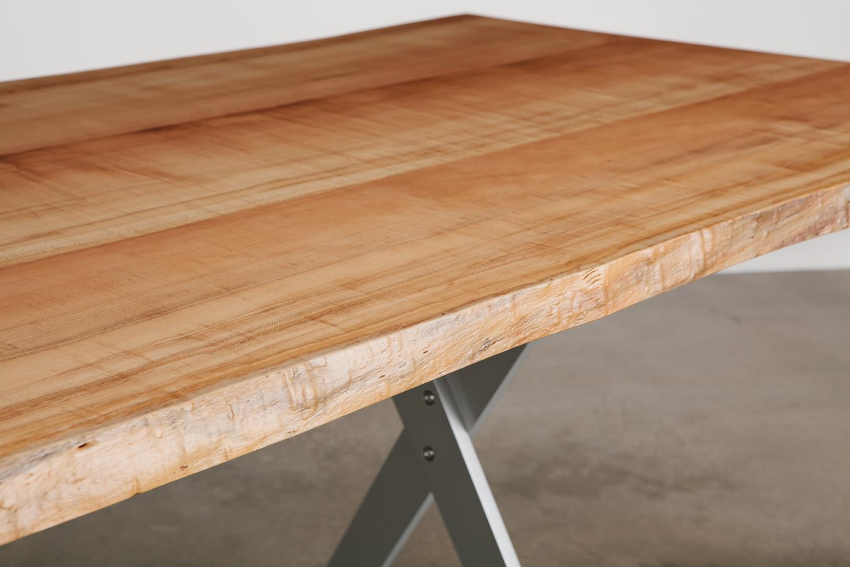 Luxury live edge maple slab table detail