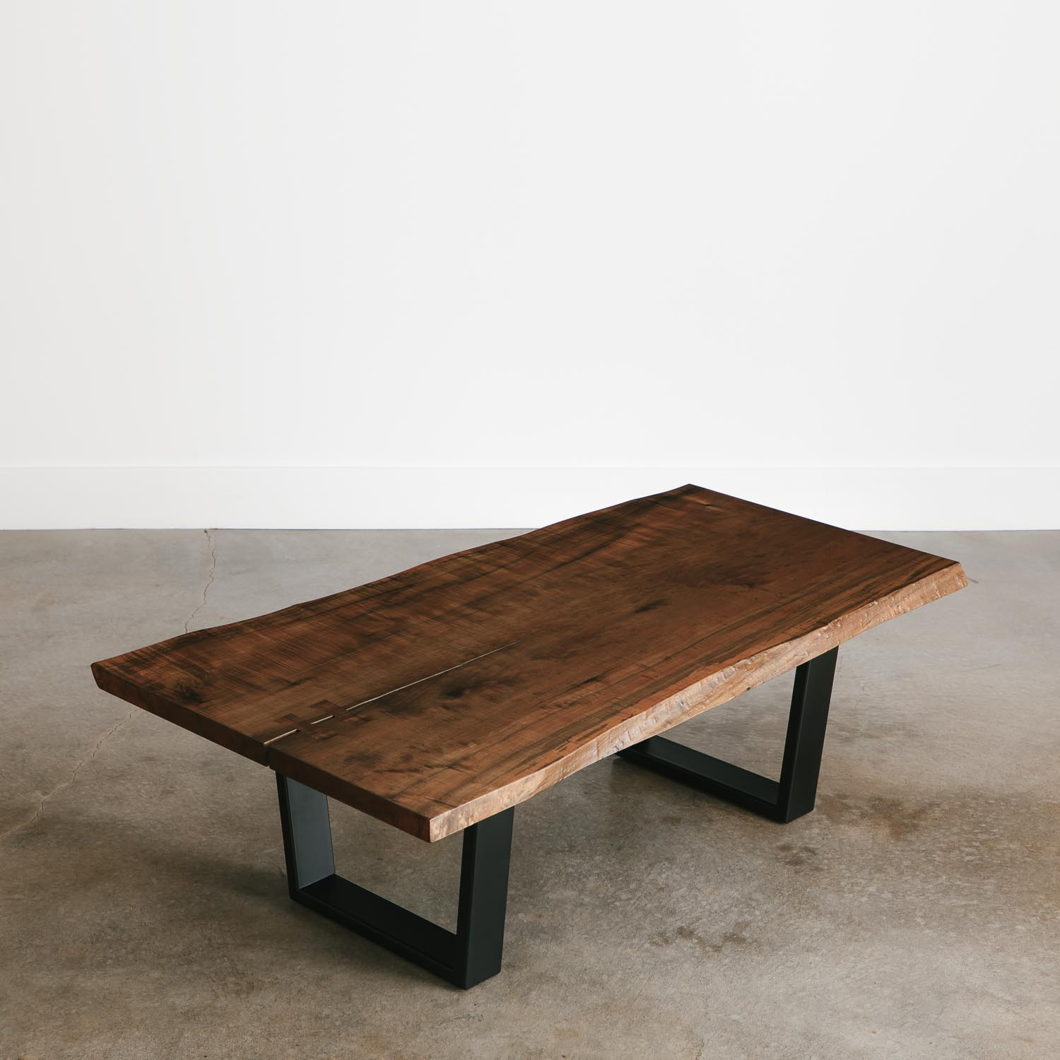 Live Edge Square Coffee Table: Ebonized Maple Coffee Table - Elko Hardwoods