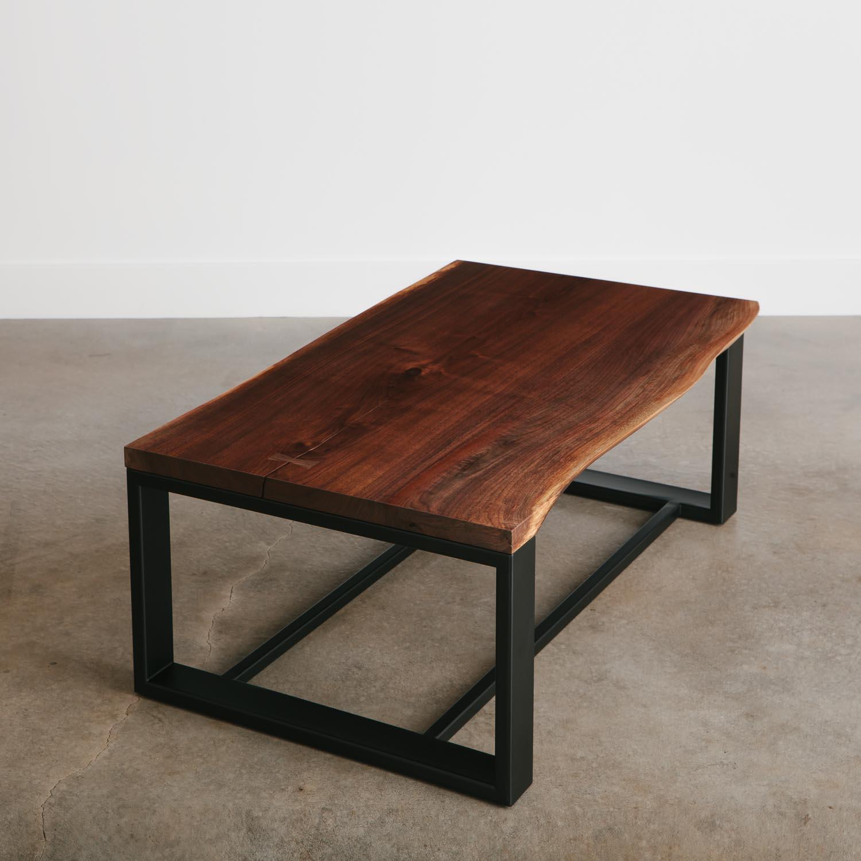 Mid Century Walnut Live Edge Coffee Table: Walnut Coffee Table - Elko Hardwoods