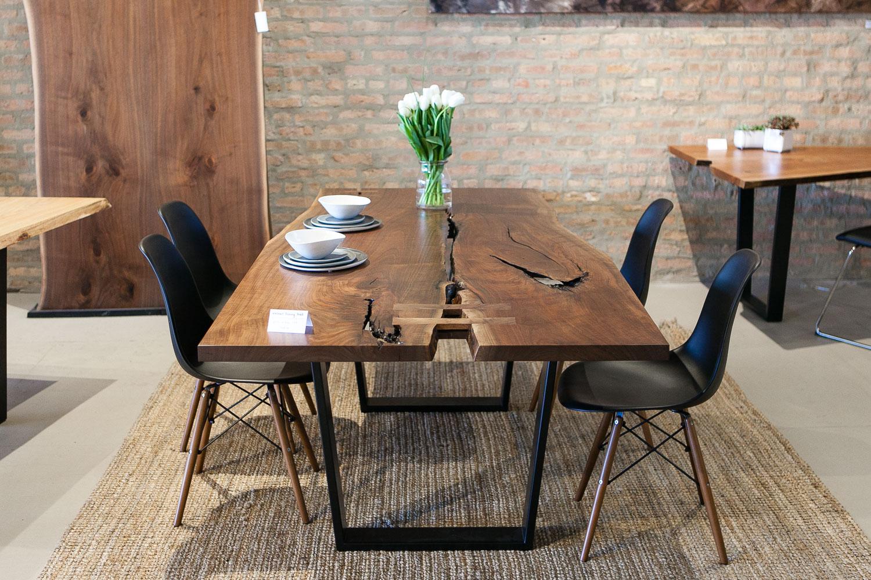 Elko hardwoods chicago showroom modern walnut dining room table