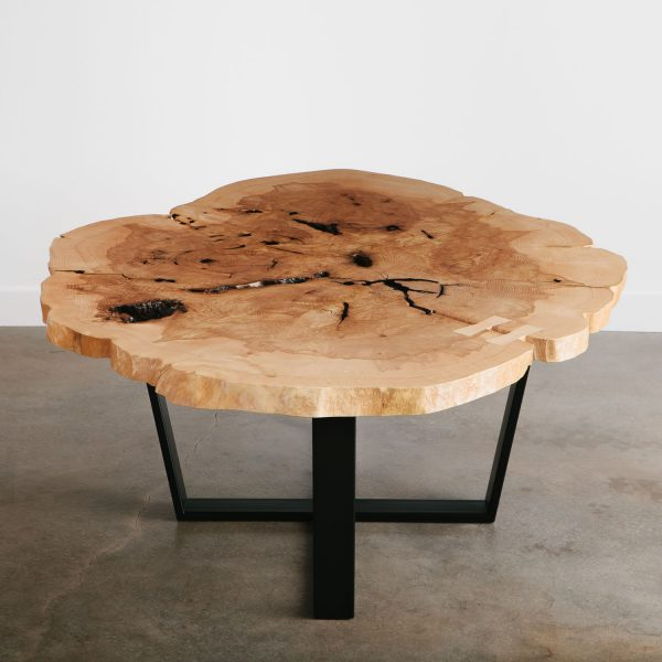 Luxury round live edge asymmetrical statement piece dining room table