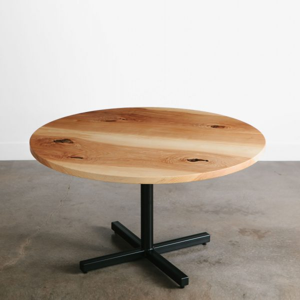 Eco friendly salvaged restaurant round cafe table with black base