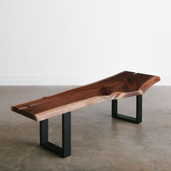Long live edge walnut bench with black legs