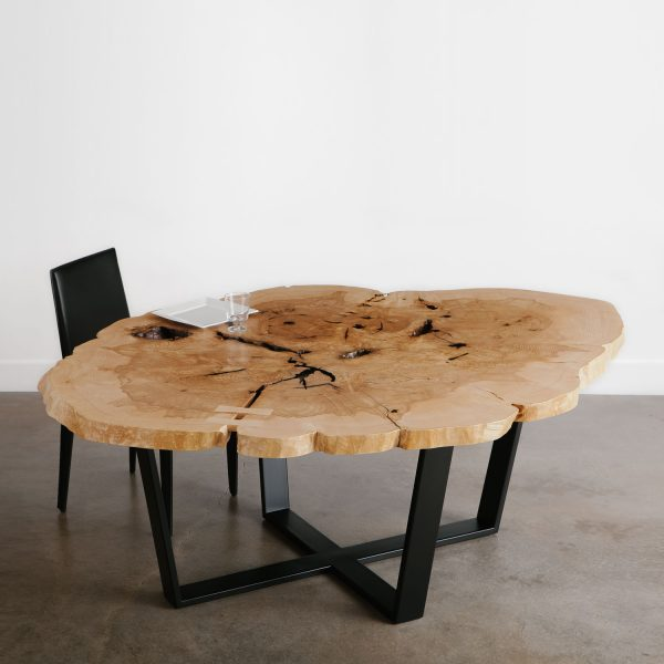 Modern round live edge dining room table