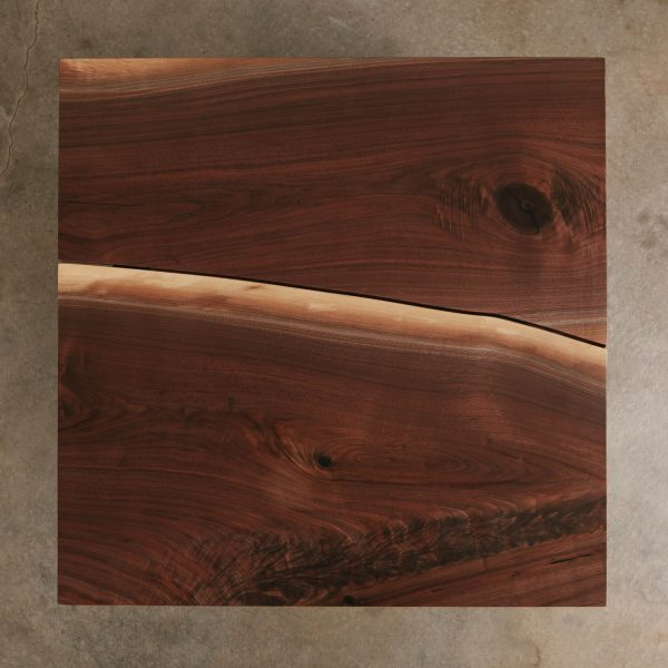 Bookmatched walnut slab custom coffee table