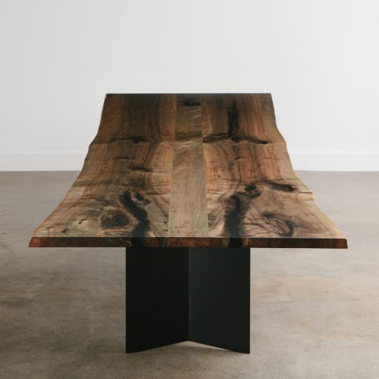 Modern neutral live edge dining table made from tree