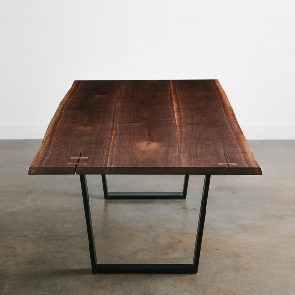 Walnut slab modern dining room table