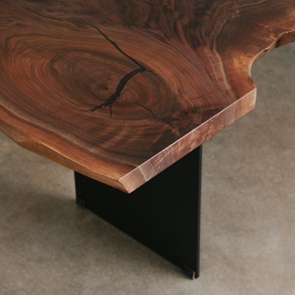 Live edge walnut dining room table detail