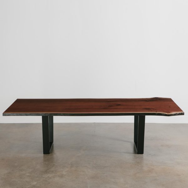 Extra large live edge walnut dining room table with steel base
