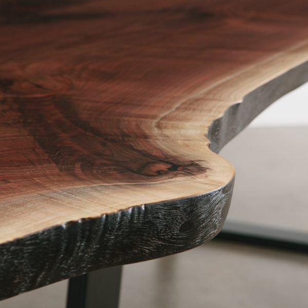 Walnut live edge slab detail